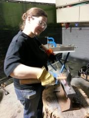 Elizabeth at Blacksmithing Class